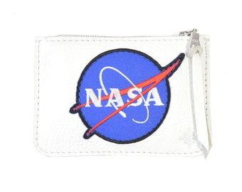 Nasa - Handmade White Leather Zip Pouch Purse SC16