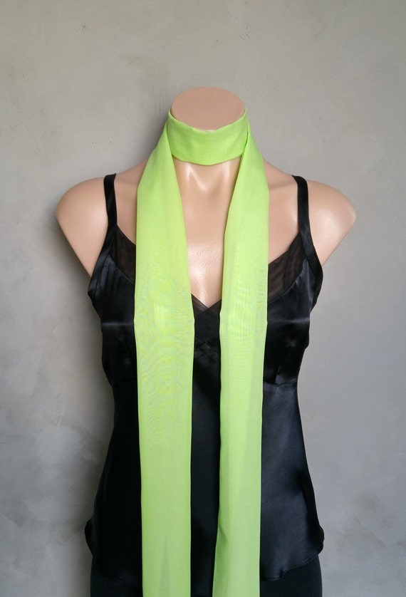 Extra Long Mint Green Skinny Scarf (71 X 6 inches) Lightweight Sheer Slim Scarf
