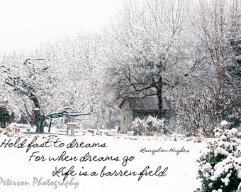 Inspirational Quotes Photos Winter Landscape Typography print Nature Snow Photo Art Winter White Decor Langston Hughes Hold Fast To Dreams