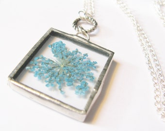 blue flower necklace - silver flower necklace - flower jewelry - real flower necklace - small flower necklace - bridal jewelry