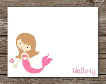 Mermaid Note Cards, Mermaid Cards, Girls Note Cards, Beach Cards, Beach Note Cards, Personalized Note Cards