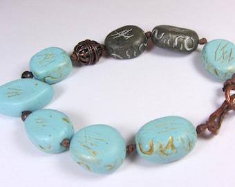 Duck Egg Blue Bracelet, Polymer Clay Bracelet, Bird Bracelet,  Copper Bracelet, Turquoise Gold Bracelet, Blue Gray Bracelet, Blue Bird Bead