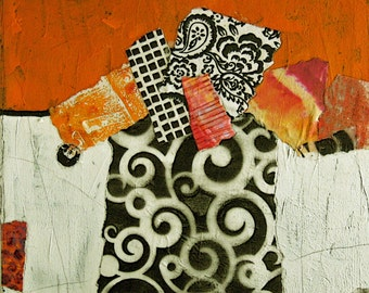"""12x12"""" Abstract Collage Painting on stretched canvas"""