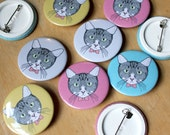 Cat • Mini Pin Badge, 38mm, assorted colours available