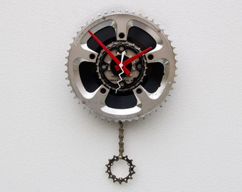 Recycled Bike Chainring and 45 Record Clock