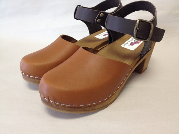 Two tone brown Mary Jane with buckled ankle strap