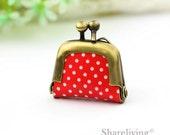 1pcs Red Polka Dot Tiny Leather Purse Charm, Handmade  Antique Bronze / Silver Photo Purse Pendant / Necklace - PL001F