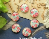 20% OFF SALE - Glass Cabochon, 8mm 10mm 12mm 14mm 16mm 20mm 25mm 30mm Round Handmade photo glass Cabochons ( Rose )   -- BCH208H