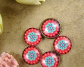 20% OFF SALE - Glass Cabochon, 8mm 10mm 12mm 14mm 16mm 20mm 25mm 30mm Round Handmade photo glass Cabochons - Flower Collection BCH020J