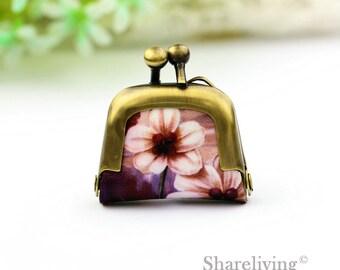 1pcs Vintage Flower Tiny Leather Purse Charm, Handmade  Antique Bronze / Silver Photo Purse Pendant / Necklace - PL001J