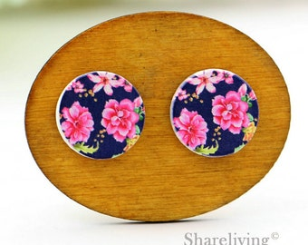 Buy 1 Get 1 Free - Vintage Pink Floral Wooden Cabochon Button, 12mm 15mm 20mm  Round Handmade Photo Wood Cut Cabochon -- HWC046Z