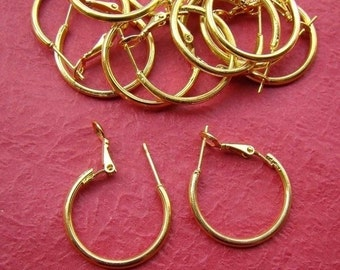 20% OFF SALE - 24pcs 25mm Gold Plated Earwires Hooks EA208