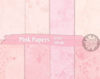 Pink Digital Papers, printable Valentines watercolour texture background, planner dividers, 12X12 backgrounds, paper for scrapbooking