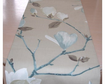 """SMALL - 3ft Table Runner Duck Egg Blue and Ivory Cream Taupe Beige Brown Magnolia Branches 36"""" Modern Cotton 90cm"""