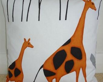 "Giraffe Pillow Cover Zoo Animals Nursery 18x18 Cushion Case Sham Slip 18"" Pillowcase Giraffes Orange Black"