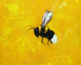 Bee painting 342 12x12 inch insect animal portrait original oil painting by Roz
