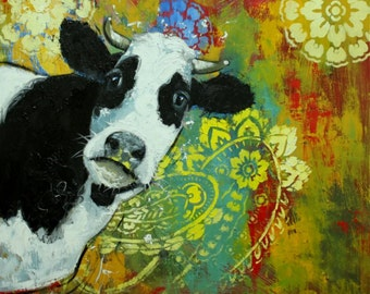 Cow painting 1041 24x24inch animal original oil painting by Roz