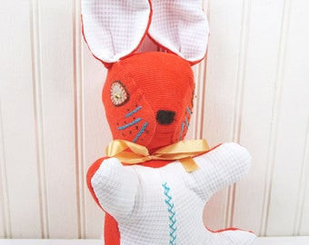 Vintage Stuffed Rabbit Plush Bunny Handmade Orange Aqua White Corduroy Doll Toy