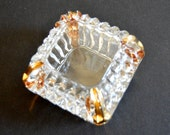 Vintage Crystal Cut Ring Box -Clear & Gold Square Jewelry Casket Small Glass Candy Dish Office Supplies Storage with Lid Vanity Tray