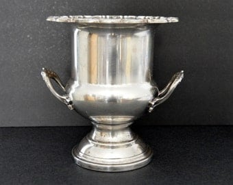Gorham Heritage Silver Plated Champagne Bucket {Large Silverplated Ice Bucket Wine Cooler Ornate Engraved Urn Vase Bar Cart Buffet Trophy}