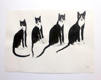 CAT    Original Illustration Painting