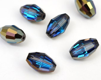 6 pcs Swarovski oval beads, oblong crystal barrel heliotrope 12mm x 8mm, article 5200