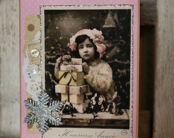 Wishing You A Merry Christmas Collage Christmas card,handmade card,collage card,vintage image card