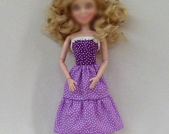 Purple Dot 11.5' fashion dolls Handmade dress