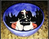 whimsical ceramic  hand painted bernese mountain dog smiling berner snack cereal  bowl maggie brudos tangerine studio