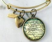 Nashville Map Charm Bangle Bracelet - Personalized Map Jewelry - Bangle - Music City - Visit Tennessee - Grand Ole Opry