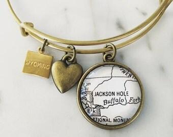 Jackson Hole Map Charm Bracelet - Wyoming Map Jewelry - Grand Tetons - Jackson - Travel - Wanderlust - Vacation