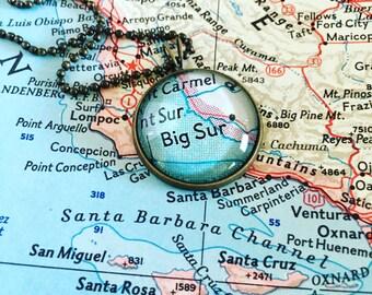 Big Sur Map Necklace - California - West Coast - Pacific Coast Highway - Wanderlust - Travel