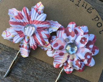Red and Tan Flower Bobby Pins