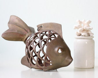 Vintage Fish Lantern, Koi Fish Candle Holder Lantern