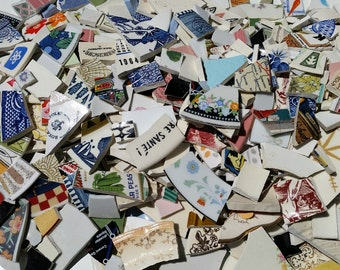 5 POUNDS * MOSAIC Tiles Craft  Broken Plate Pieces-  Large Color Mix- Fun Tiles
