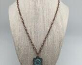 Happy Flower Antique Copper Necklace