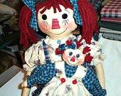 E-Pattern, Downloadable Pattern, Raggedy Dolls Pattern,  Two Doll Pattern, Prim Doll Pattern, Primitive Pattern, Playtime Annie Doll Set