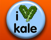 I Love Kale - 2.25 Inch Large Button / Magnet / Bottle Opener / Pocket Mirror - Vegetarian Vegan Raw Healthy Vegetable -Sick On Sin