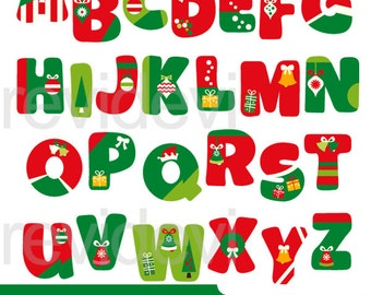 Christmas clipart red green - Christmas alphabet clip art - ABC digital images - commercial use, instant download