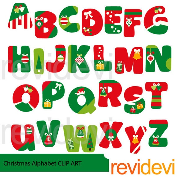 Christmas Clipart Red Green Christmas Alphabet Clip Art