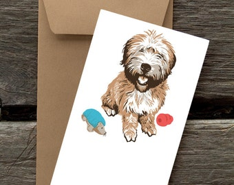 Wheaton Terrier with Toys -- 8 Blank flat cards and envelopes