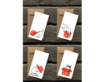 Cat in the Box Assortment of 8 Flat Panel Cards and Envelopes