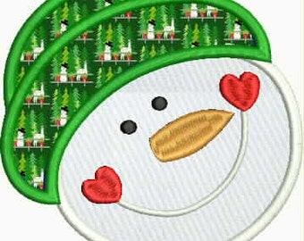 Machine Embroidery Applique Snowman Design pes dst emb sew hus Auto Download