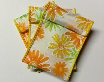 Jewelry Bead Pouches - 15 Orange Yellow Daisy - Ribbon
