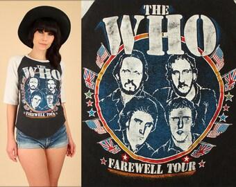 ViNtAgE 1982 THE WHO Tour Shirt // Black/White Raglan 80s Rock T-Shirt Concert Medium M