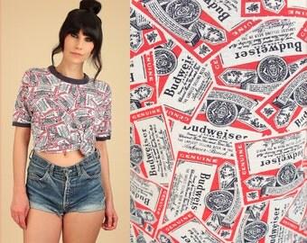 ViNtAgE 70's Budweiser T-Shirt Ringer Beer Allover Print Rare Tee // Bud Tshirt // Large L
