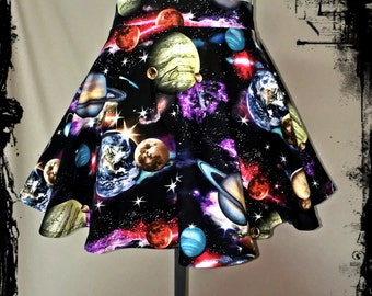 SALE! Galaxy Space Full Circle Skirt Size Large - Ready to Ship - Geek Planets Science Stars Nerd Cotton Swing Gothic