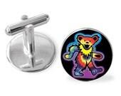 dancing bear rainbow color glass cuff links cufflinks gift wedding custom new sHips USA made
