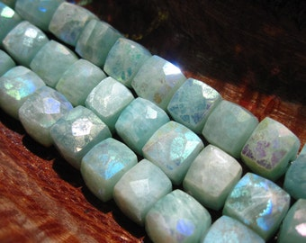 Mystic Amazonite Cubes - semiprecious gemstone beads - 7mm
