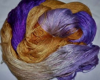 Hand dyed Tencel Yarn - 6/2 Tencel Lace Wt. Yarn  GOLDEN DAWN - 630 yards